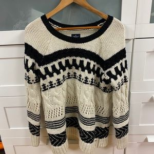 American eagle chunky knit white black sweater MED